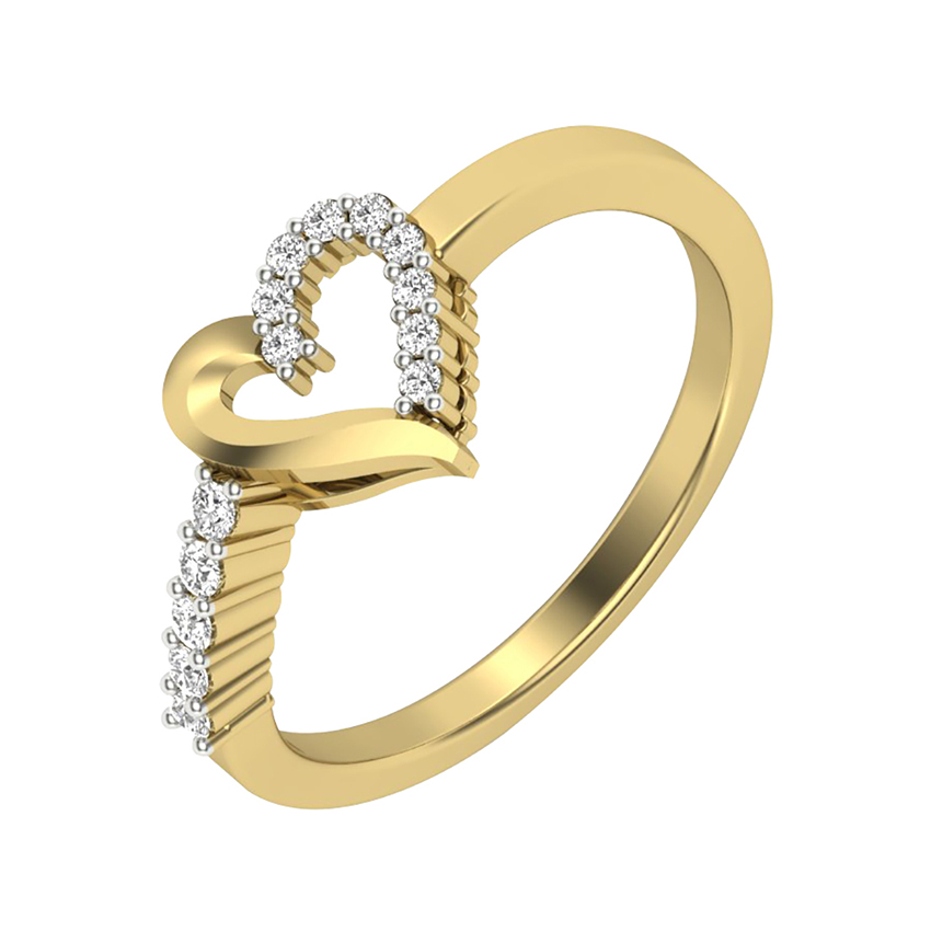 Heart Shaped Diamond Ring in Yellow Gold