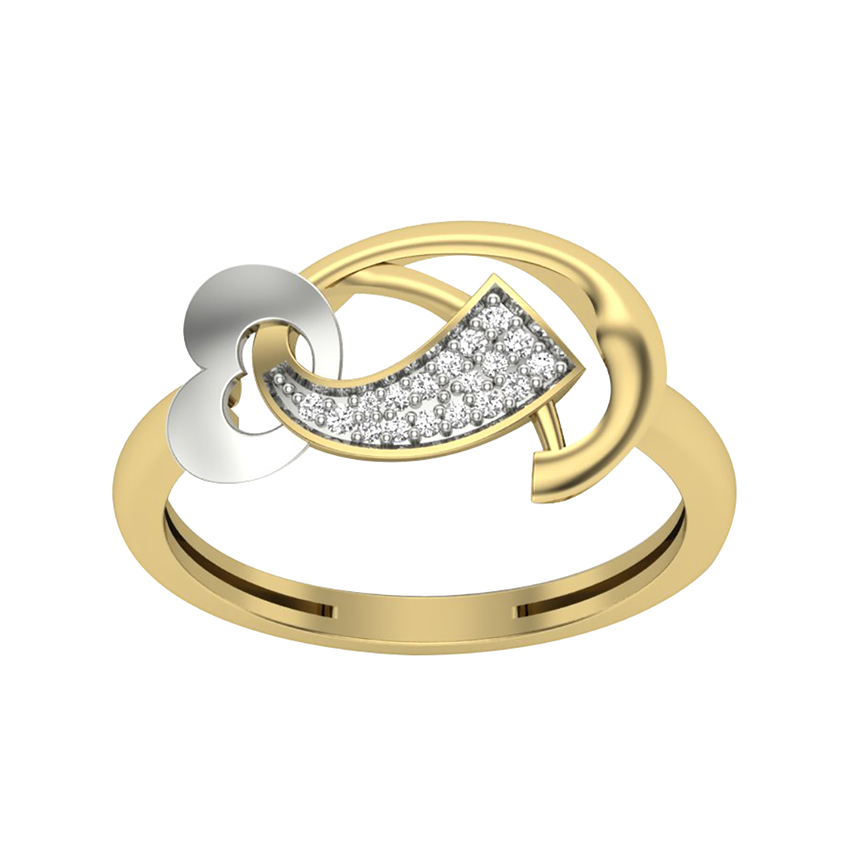 Funky Diamond Ring in Yellow Gold