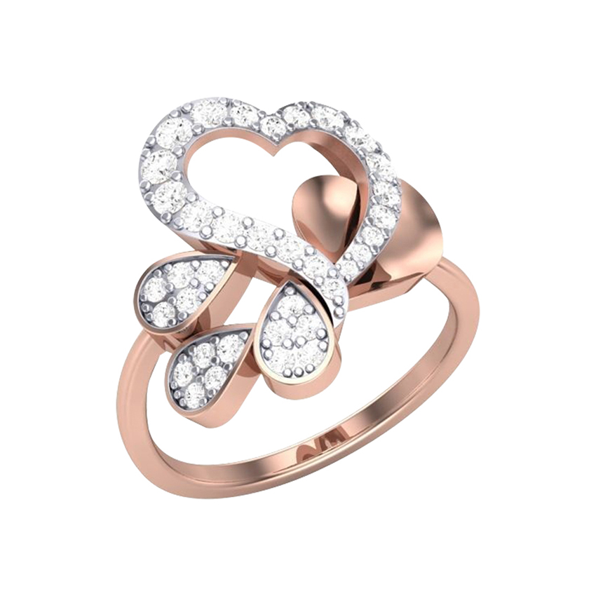 Heart Shaped Diamond Ring in Rose Gold