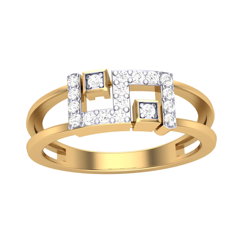 Geometric Diamond Ring in Yellow Gold