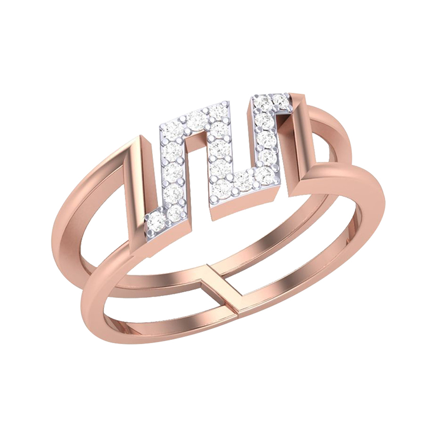 Geometric Diamond Ring in Rose Gold