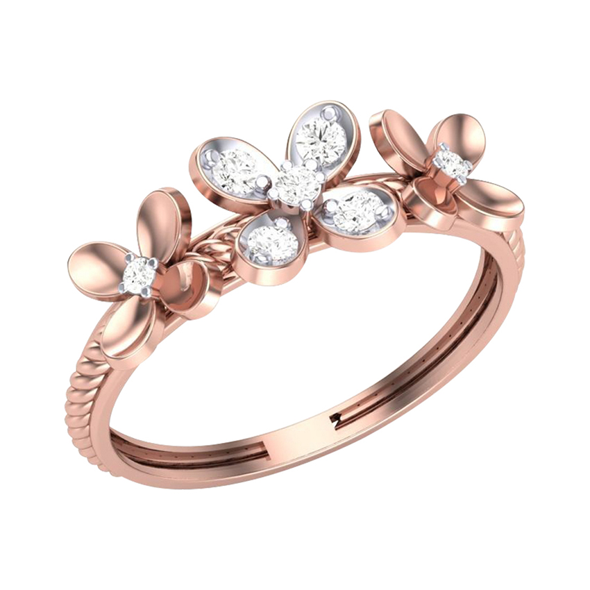 Diamond Studed Flower Ring in Rose Gold