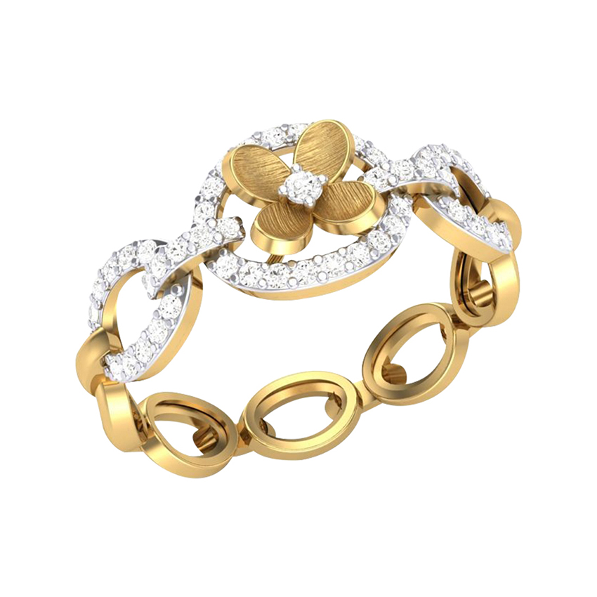 Diamond Chain Ring in Yellow Gold