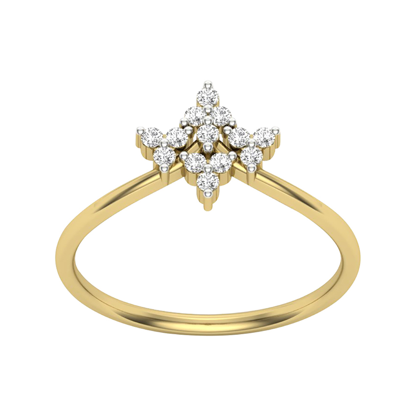 Modish Diamond Ring in Yellow Gold