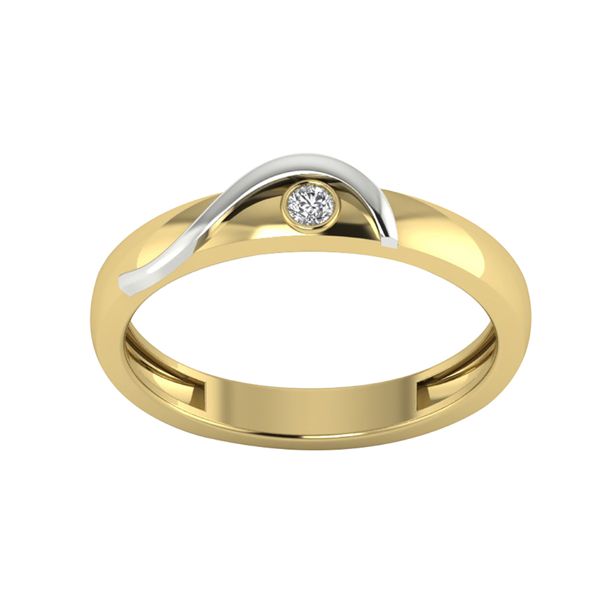 Single Diamond Band in Yellow Gold