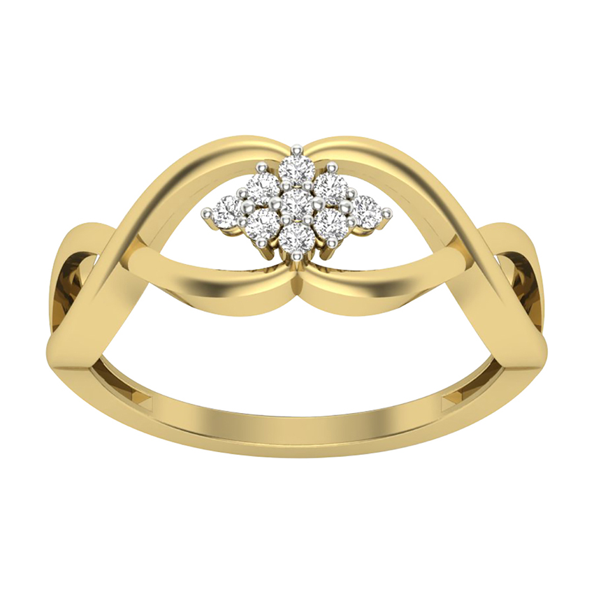 Contemporary Diamond Ring in Yellow Gold