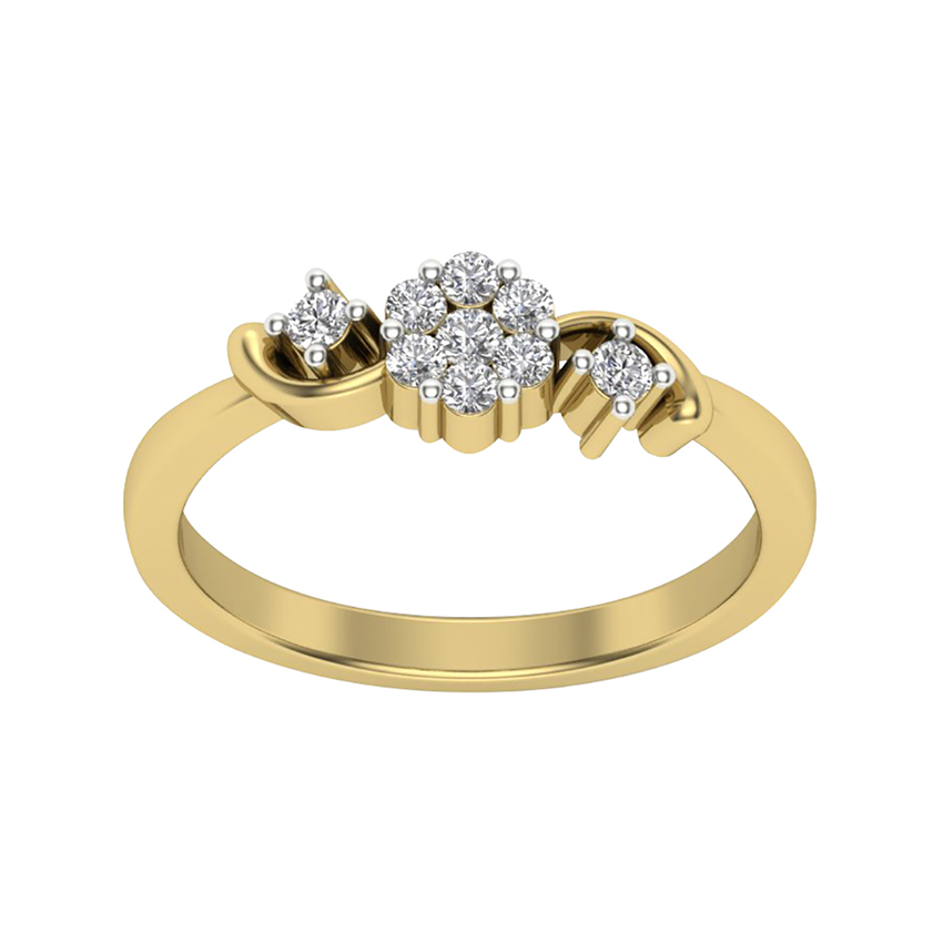 Solitaire look Pressure Setting Diamond Ring in Yellow Gold