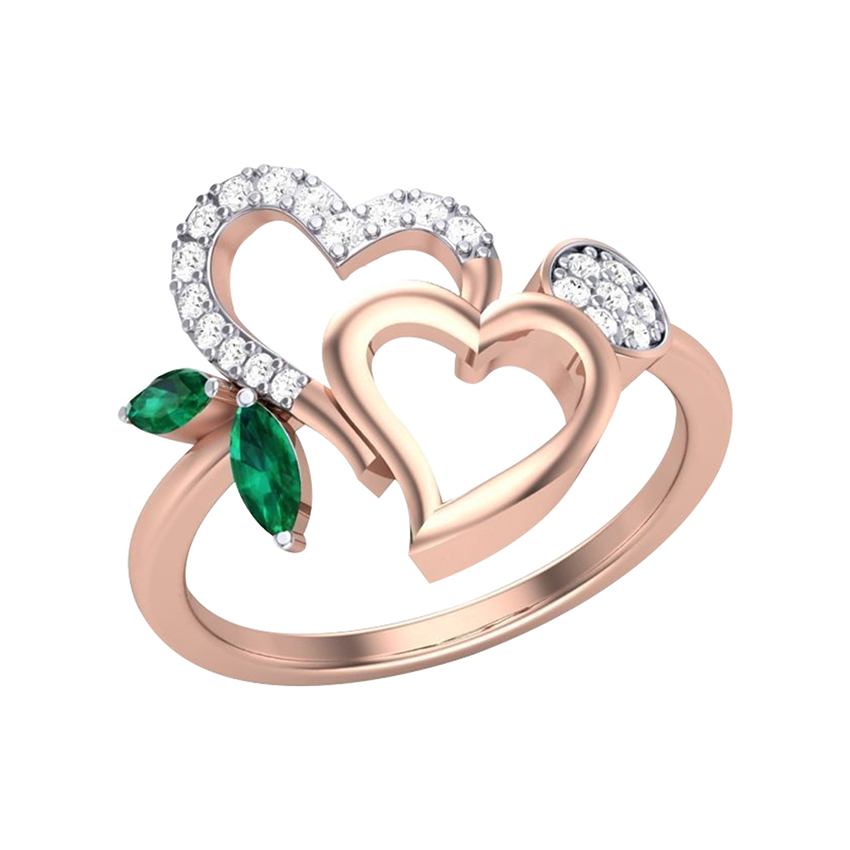 Marquise Green Stone Diamond Ring in Rose Gold