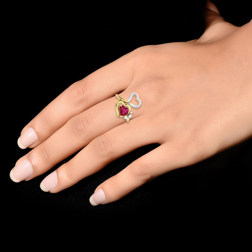 Ruby Colored Stone Diamond Ring in Yellow Gold