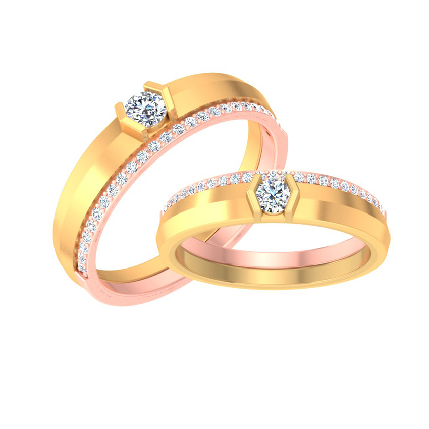 Eye-Catching Solitaire Couple Band