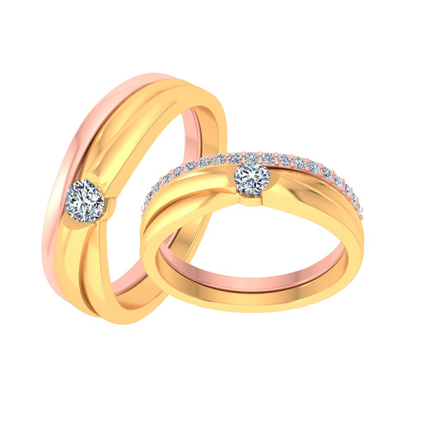 Elegant Solitaire Couple Ring