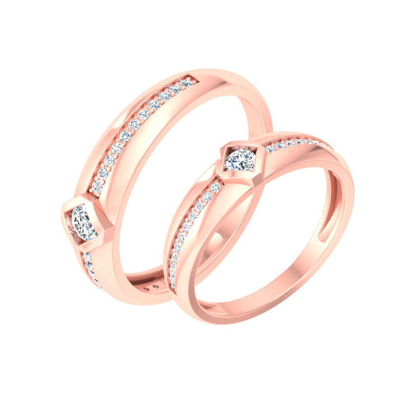 Designer Solitaire Couple Ring