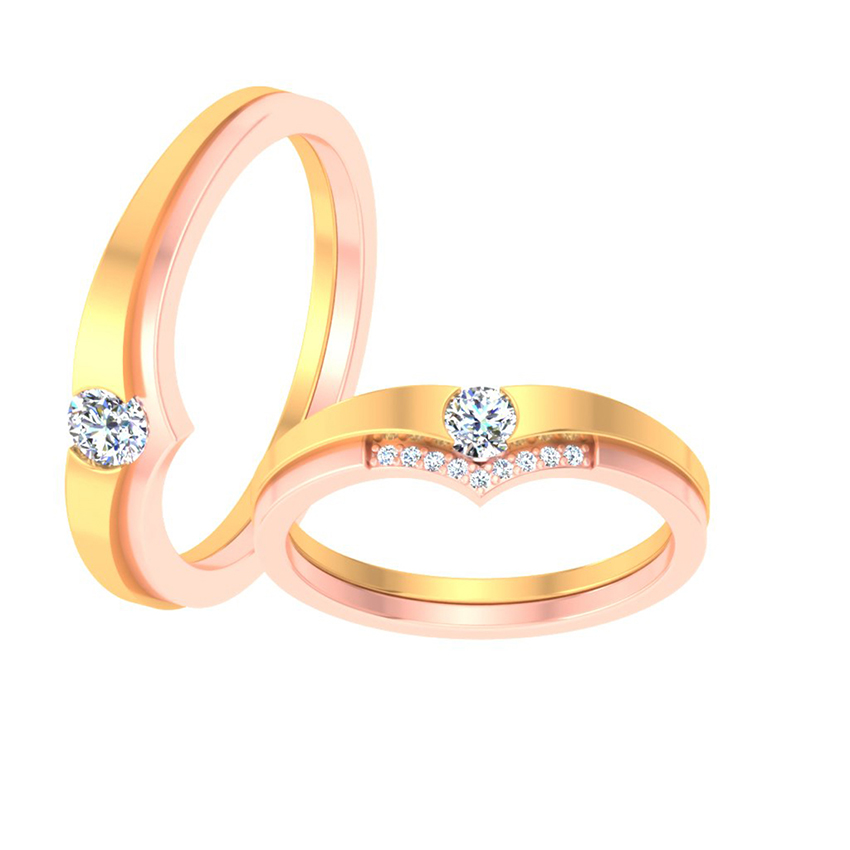 Delicate Solitaire Couple Ring