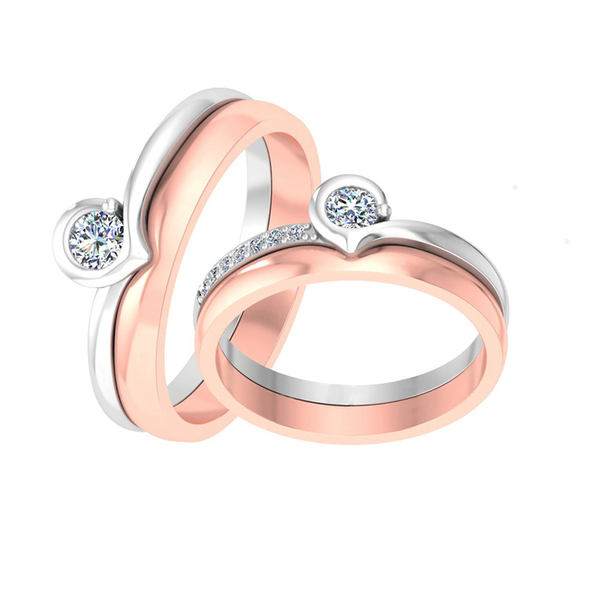 Designer Rose and White Gold Couple Ring