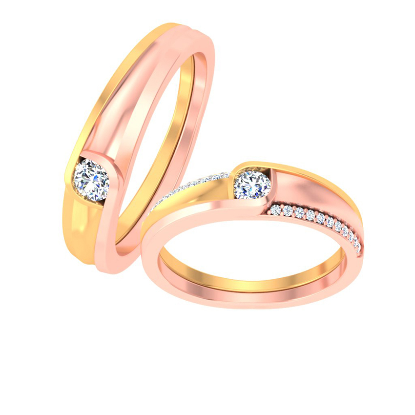 Two-Tone Solitaire Couple Ring