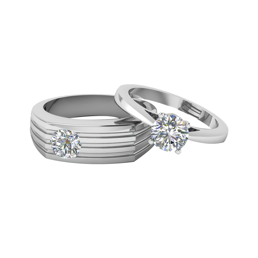 Sophisticated Soltaire Couple Ring