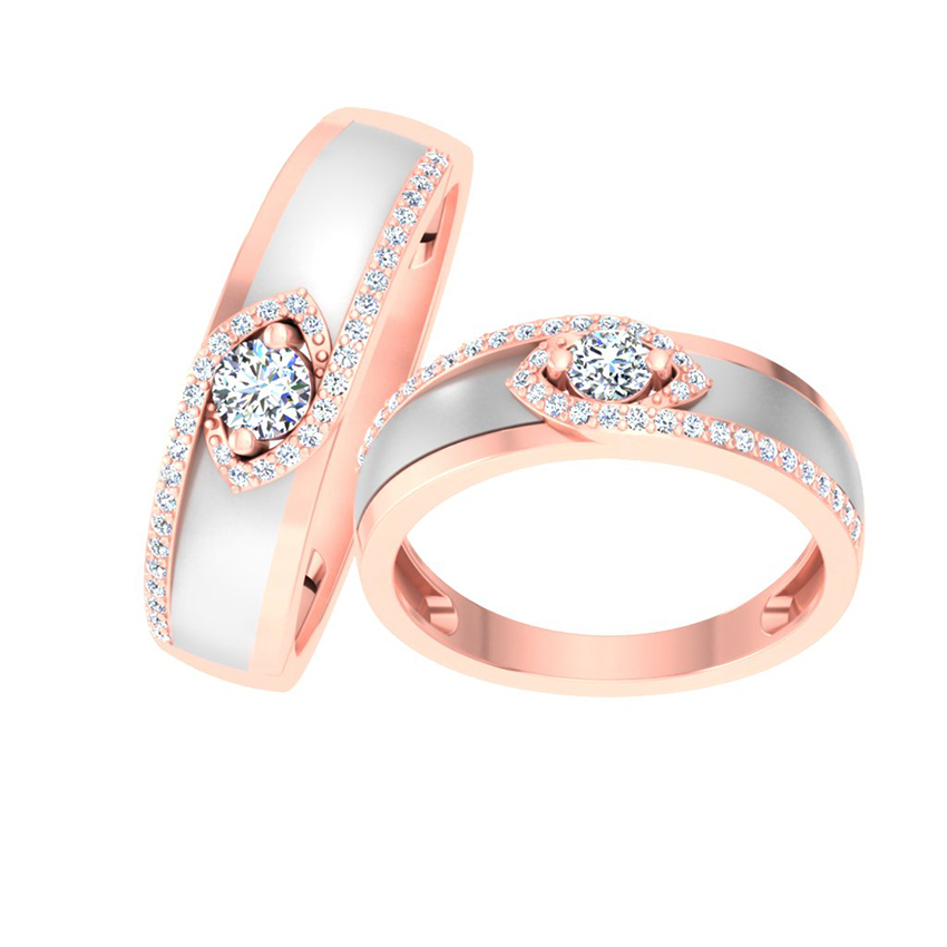 Stylish Solitaire Couple Bands
