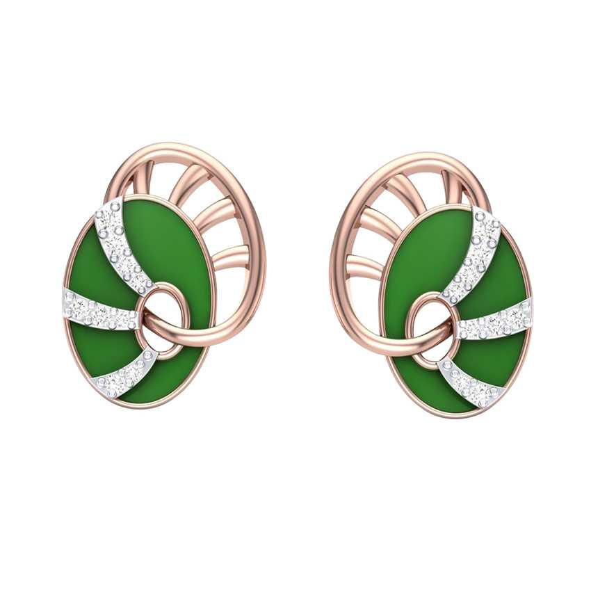 Green Enamelled Rose Gold Studs