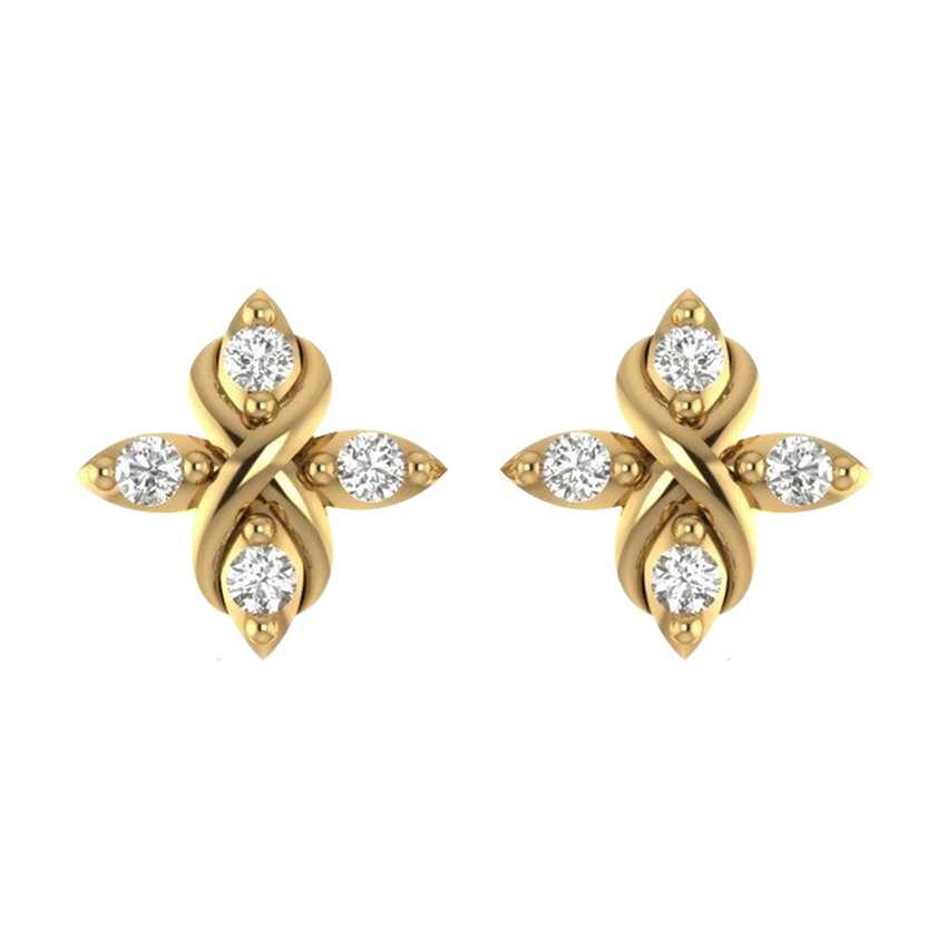 Innovative Studs in Yellow Gold