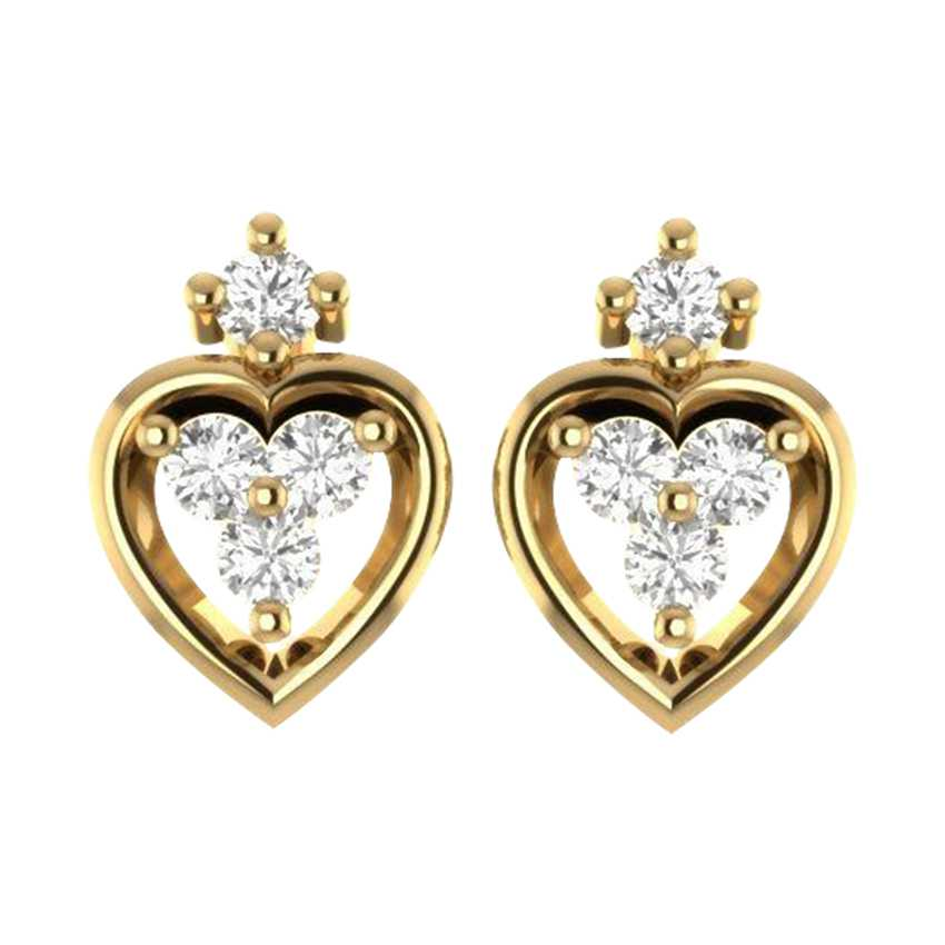 Heart Shaped Studs in Yellow Gold