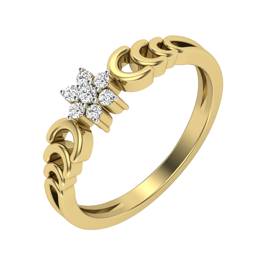 Cluster Setting Diamond Ring in Yellow Gold