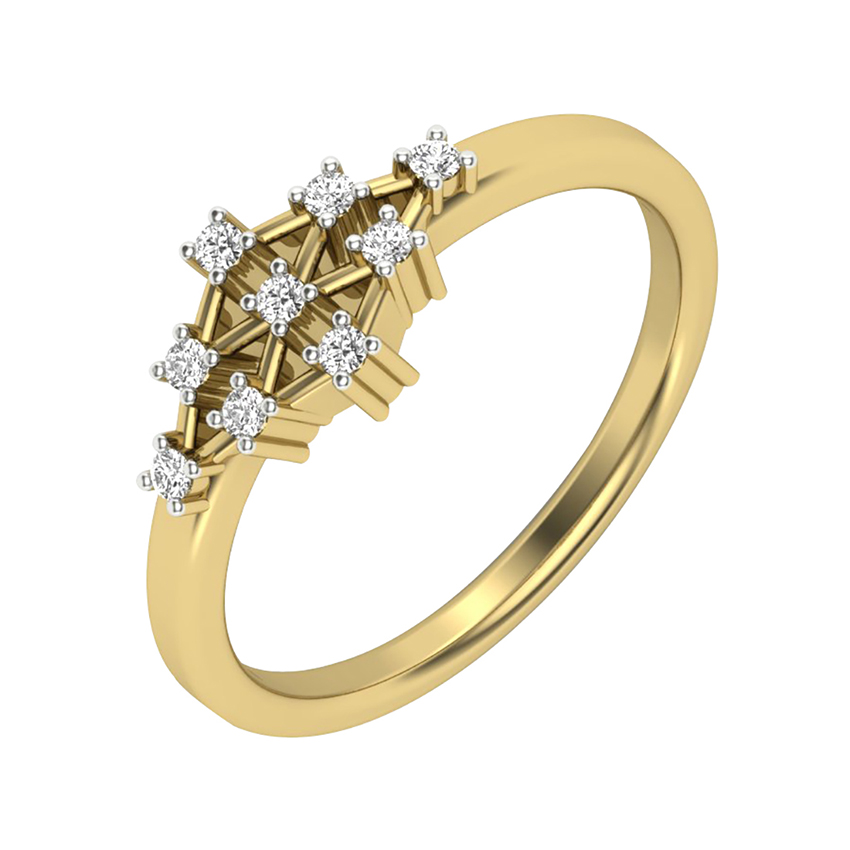 Wired Diamond Setting Ring in Yellow Gold
