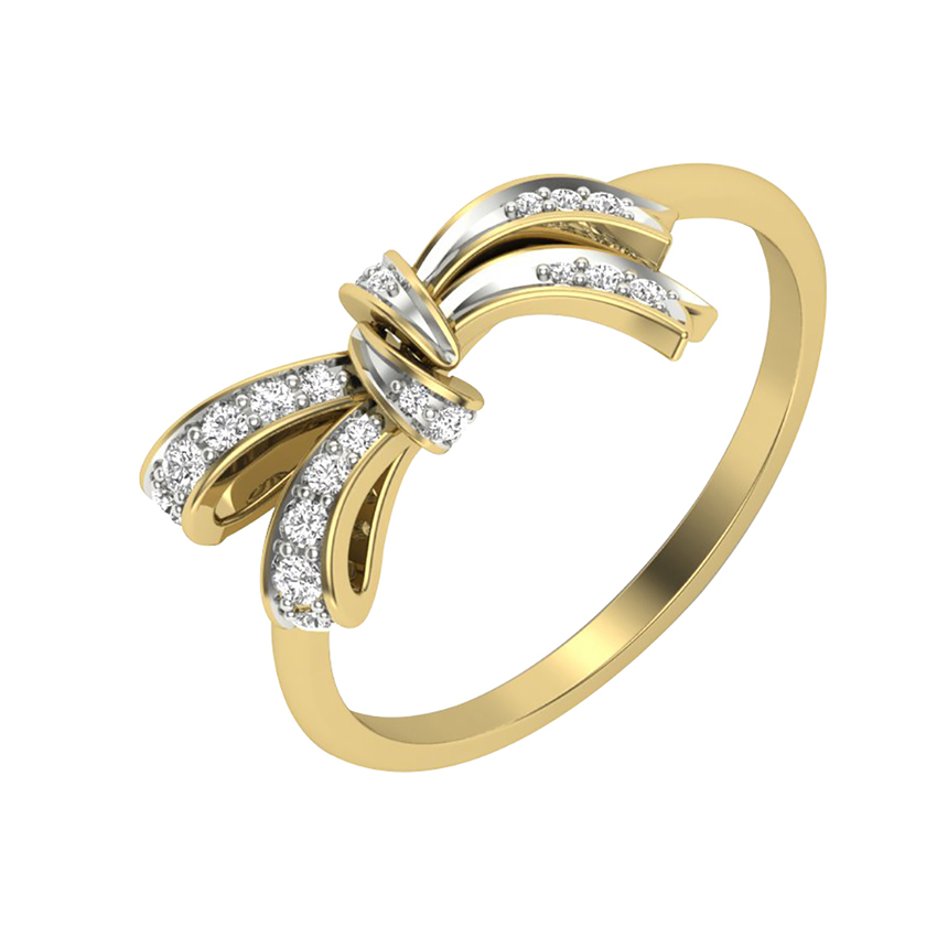 Ribbon Diamond Ring in Yellow Gold