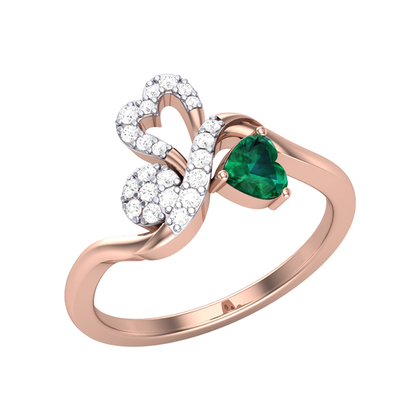 Green Stone Diamond Ring in Rose Gold