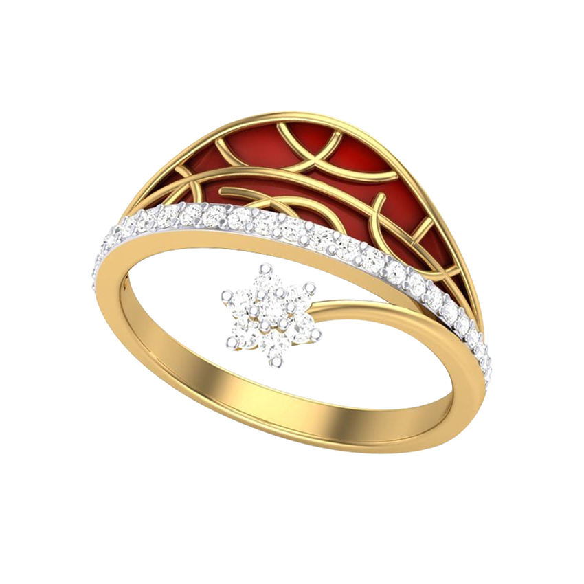 Red Enamelled Diamond Ring in Yellow Gold