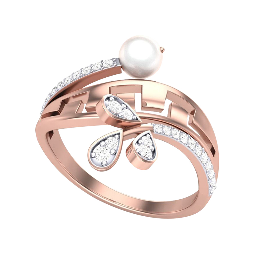 Classy Diamond Ring in Yellow Gold with Round Pearl