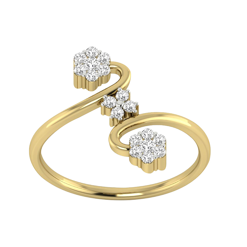 Pressure Setting  Diamond Ring in Yellow Gold