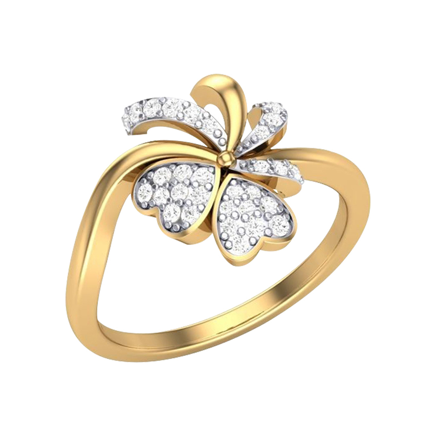 Trendy Engagement Diamond Ring in Yellow Gold