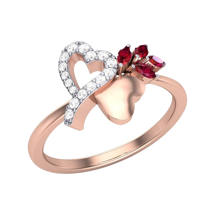 Marquise Ruby Stone Diamond Ring in Rose Gold