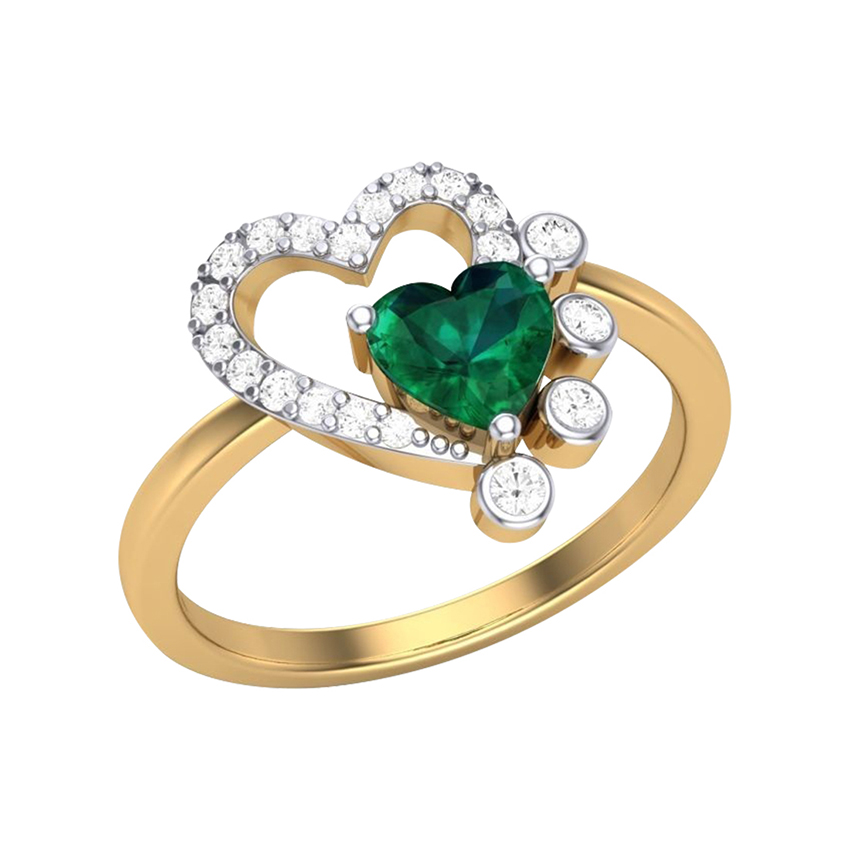 Heart Green Stone Diamond Ring in Yellow Gold