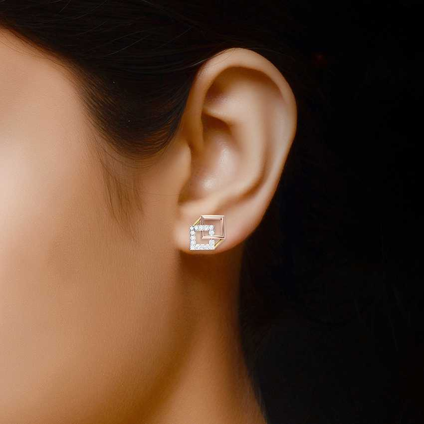Geometric Shaped Studs in Rose Gold
