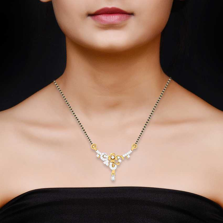 Curly Flower Diamond Mangalsutra