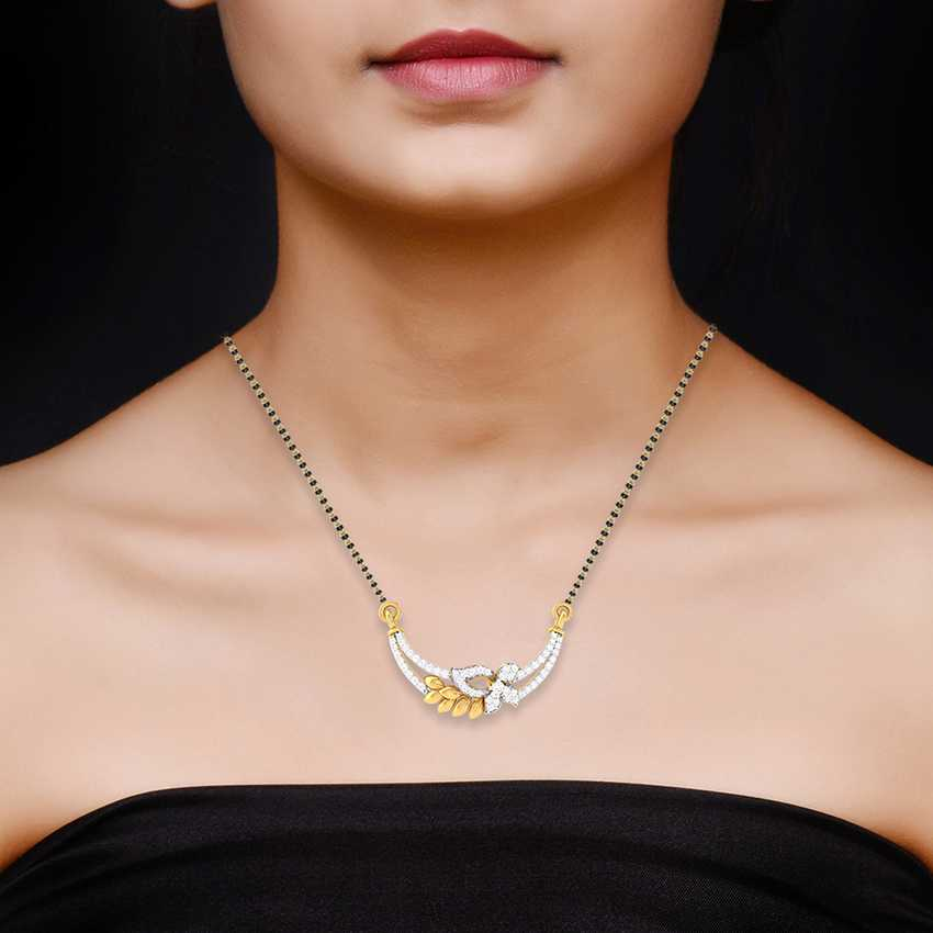 Wavy Leaves  Diamond Mangalsutra