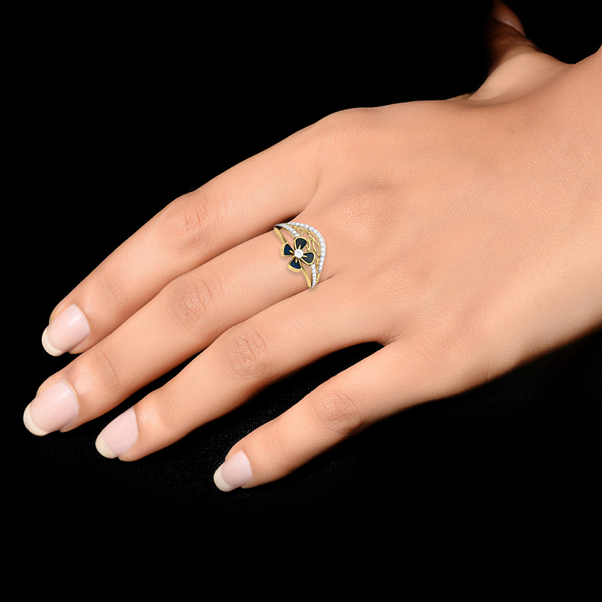 Blue Enamelled Diamond Ring in Yellow Gold